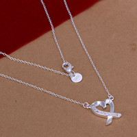 Sterling Silver Necklace Heart Necklace Chain Necklace Love Necklace Elegant Necklace