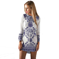 Blue And White Porcelain Pattern Dress