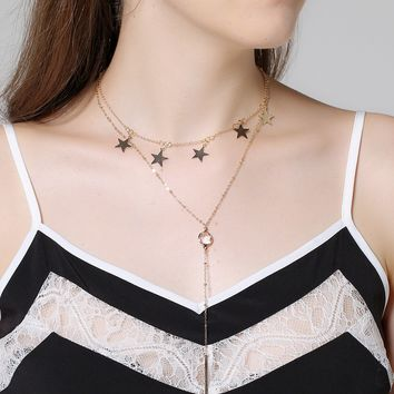 171201 Fashion Multielement Crystal Star Pendant Clavicle Necklace C1414