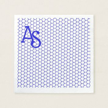 Blue pattern. Hexagonal grid. Monogram. Napkin