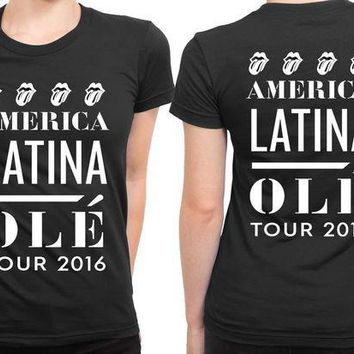 ICIK7H3 The Rolling Stones America Latina Ole Tour 2 Sided Womens T Shirt