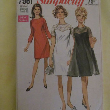 Sale 1960's Simplicity Sewing Pattern, 7961! Size 38, Bust 42, 1950's retro, Aline Dress, Summer or Spring, Short Dress.  Size XL to XXl.