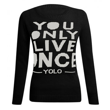 Yolo sweatshirt jumper tops ladies pullover by Meronepal on Etsy
