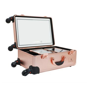 Professional Trolley Makeup Case with Huge LED Mirror and Large Storage with Two Extendable Trays in Rose Gold