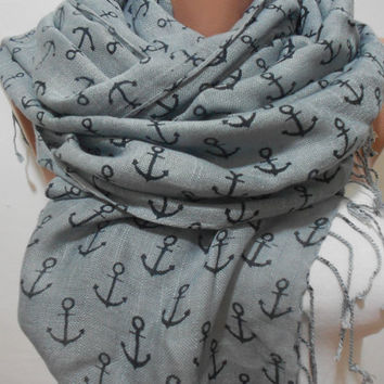 Anchor Pattern Gray Scarf Shawl Nautical Gray Cowl by ScarfClub