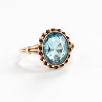 Vintage 10k Rosy Yellow Gold Simulated Aquamarine Ring - Size 5 1/2 Art Deco 1930s Blue Oval Cut Glass Stone Fine Jewelry Hallmarked BDA