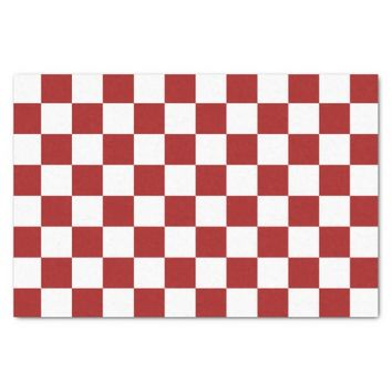 Cranberry Red and White Checkerboard Pattern Tissue Paper