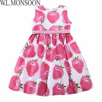 W.L.MONSOON Girls Summer Dress with Beading Sashes 2017 Brand Robe Enfant Kids Clothes Costumes Princess Pink Strawberry Dresses
