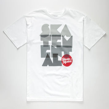 Skate Mental Stacker Mens T-Shirt White  In Sizes