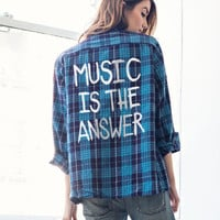 Music Is The Answer Vintage Flannel
