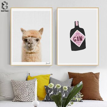 Lovely Sheep Animal Posters and Prints Canvas Painting Wall Art Decorative Picture Nordic Style for Living Room Decoration