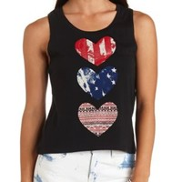 Americana Triple Heart Graphic Tank Top by Charlotte Russe - Black
