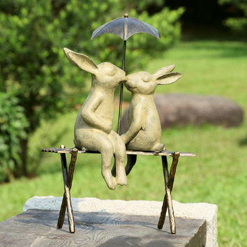 SPI Bunny Lovers on Bench Aluminum Sculpture