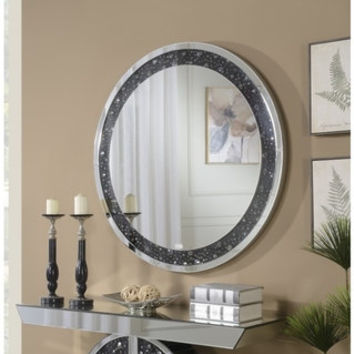 Black Trim Crystal 39-inch Round Wall Mirror | Overstock.com Shopping - The Best Deals on Mirrors