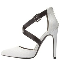 Black/White Crisscross Crocodile Color Block Pumps by Charlotte Russe