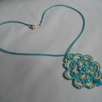 Blue lace pendant necklace, blue necklace, blue pendant, lace necklace, tatted necklace, tatting jewelry