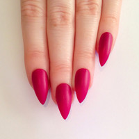 Matte Pink Stiletto nails, Nail designs, Nail art, Nails, Stiletto nails, Acrylic nails, Pointy nails, Fake nails