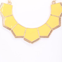 Yellow Lacquer Finish Geometric Cute Necklace