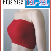 2pcs Tube Top Strapless Bras Plus Size Seamless Bandeau Red