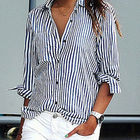 Casual Blue and White Vertical Striped  Loose Lapel Long Sleeve Single-breasted Shirt