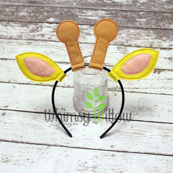 Giraffe Headband Ears ITH Embroidery Design