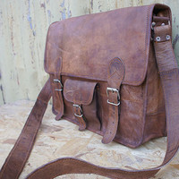 Leather Satchel / Messenger / Laptop Bag - Mens - Handmade Vintage Retro Look