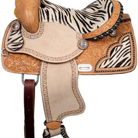 Saddles Tack Horse Supplies - ChickSaddlery.com Double T Zebra Barrel Saddle - 13""