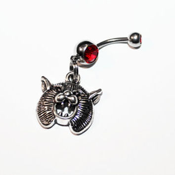 Scary Cat Belly Button Ring, Halloween Jewelry, Spooky, Horror, Navel Ring, Belly Piercing