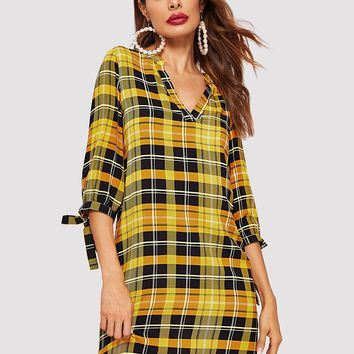 Knot Cuffed Plaid Tunic Dress