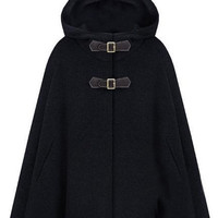 Single Breast Black Hoody Cape [NCSOX0024] - $135.99 :