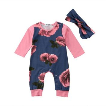 Aubrey's Floral LS(Long Sleeve) Romper with Matching Headband
