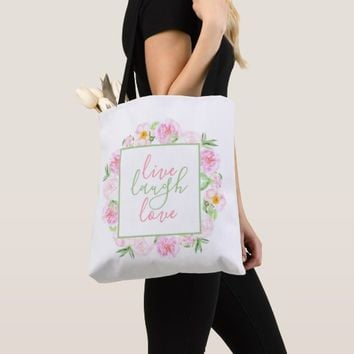 Watercolor Peony Wreath | Live Laugh Love Tote Bag