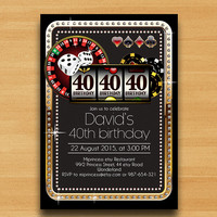 Poker Playing Card Gold birthday invitation, Casino theme gold glitter design invitation for any age 30th 40th 50th 60th 70th 80th card 435