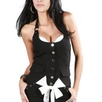 Afterpink New Corset Cotton Sexy Front Button Blouse Clubwear Women Top:Amazon:Clothing