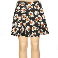 Full Tilt Daisy Print Girls Ponte Skater Skirt Black/White  In Sizes
