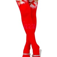 Ninimour- Women's Sheer Thigh-high Stockings with Satin Bow (Red)