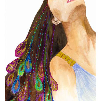 Enjoying Life Giclee Print from Original Watercolor Fashion Female Portrait Artwork