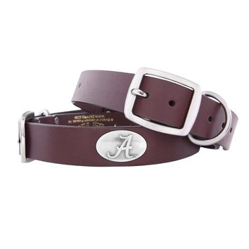 Zep-Pro Alabama Crimson Tide Concho Leather Dog Collar - L