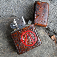 Wasteland Leather Hand Tooled, Distressed & Painted Borderlands Custom Zippo Lighter- CUSTOM ORDER ONLY