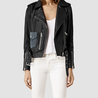 Womens Rayna Leather Biker Jacket (Black) | ALLSAINTS.com