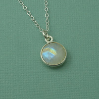 Small Round Moonstone Necklace - sterling silver moonstone pendant - tiny moonstone necklace
