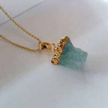 """Rough Cut Aquamarine """"You Are One Of A Kind"""" Gold Pendant Necklace"""