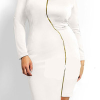 V-Neck Zipper Design Long Sleeve Bodycon Midi Dress