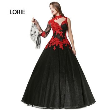 Victorian Gothic Masquerade High Neck  Ball Gown Black And Red lace Arabic Wedding Dress Long Sleeves vestido de noiva vermelho