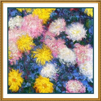 Chrysanthemum Detail #2 inspired by Claude Monet's impressionist painting Counted Cross Stitch or Counted Needlepoint Pattern