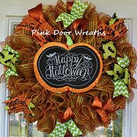 Happy Halloween wreath, Trick or Treat wreath, party orange black lime green sparkly cute ribbon mesh door decor