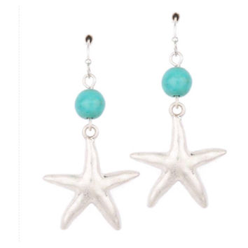 """Sea Life"" Silver Starfish Turquoise Semi Precious Stone Dangle Earrings"