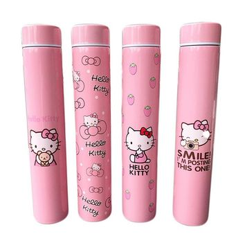 2018 Limited Edition Korean Cartoon Hello Kitty Long Vacuum Cup KT Pink Portable Stainless Steel Wolf Stick Flask Water Bottle