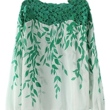 ROMWE Cut-out Leaf Print Green Blouse