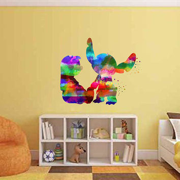 kcik2081 Full Color Wall decal Watercolor Lilo & Stitch Character Disney Sticker Disney children's room